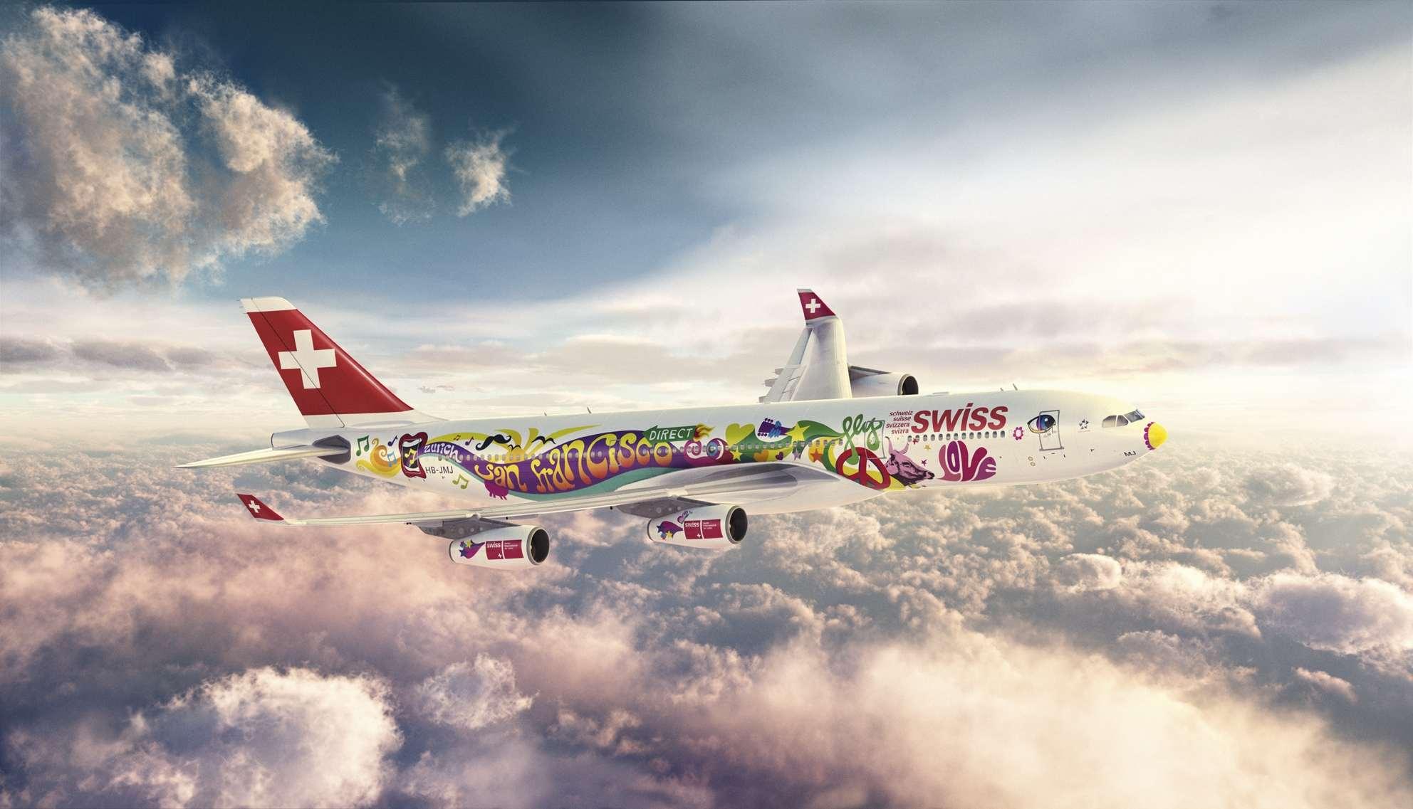 Ejemplo de Logojet en la compañía aérea  Swiss