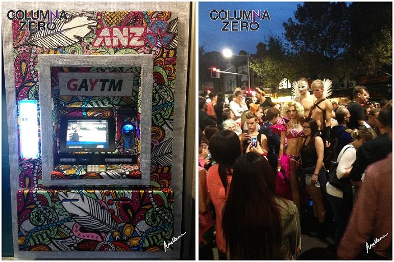 A la izda. Un cajero ATM customizado para la ocasión. A la dcha. Un grupo de travestis posa minutos antes del desfile.