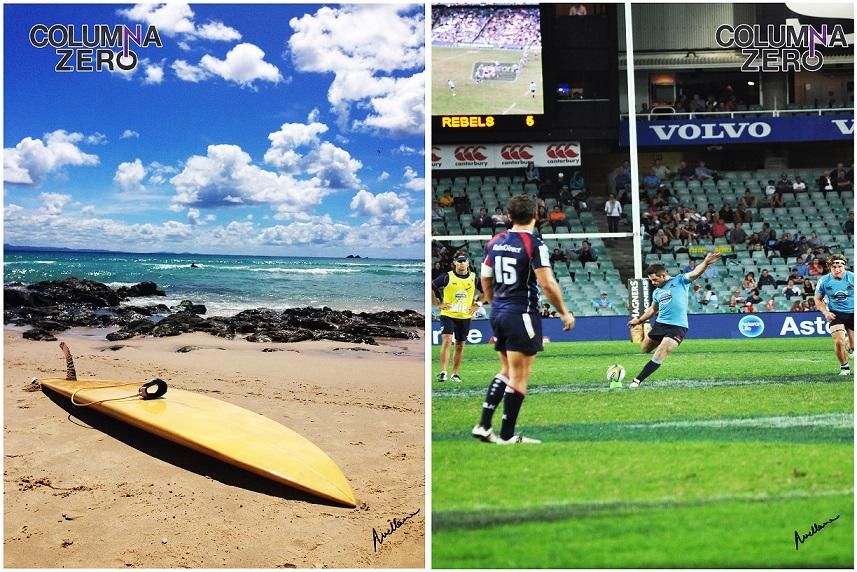 A la izda. Una tabla de surf de fibra de carbono, uno de los deportes estrella de los aussies, se seca al sol en la costa. A la dcha. Otro de los deportes top en Australia, el Rugby.