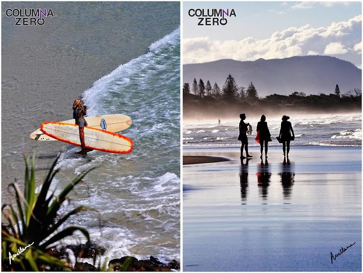 A la izda. Dos jóvenes surfistas disfrutan de las olas en Byron Bay. A la dcha. Tres jóvenes se retiran de una de las playas más famosas de Byron Bay con la puesta de sol.
