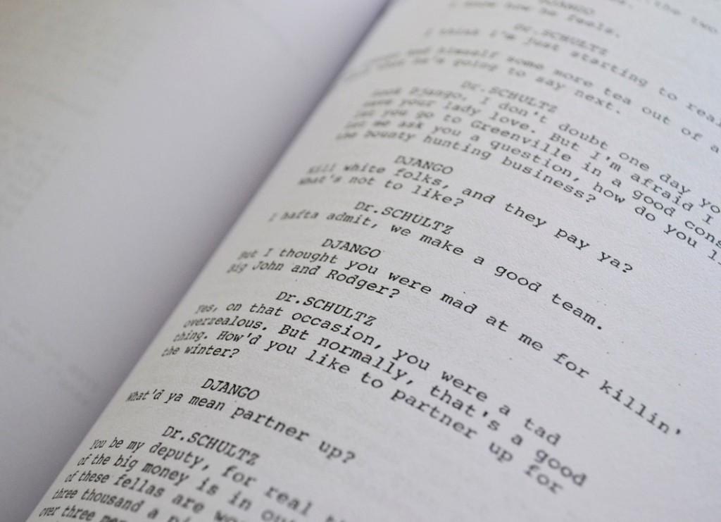 Foto del guión de Djando (2013)  de Quentin Tarantino.