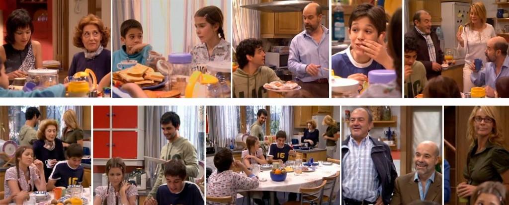 Primera fila de fotos: primer desayuno de la serie. Fila de abajo: último capítulo.