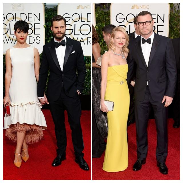 Jamie Dornan con su pareja y Naomi Watts de Gucci con Liev Schreiber.