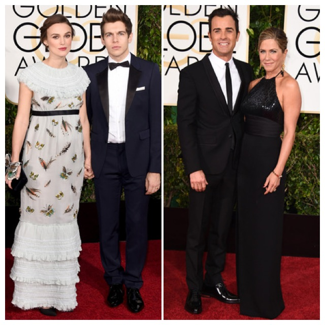 Keira Knightley con su marido y Jennifer Aniston de Saint Laurent con Justin Theroux.