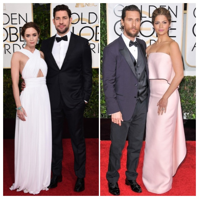 Las parejas Emily Blunt y Jonh Krasinski; Matthew McConaughey y Camila Alves.