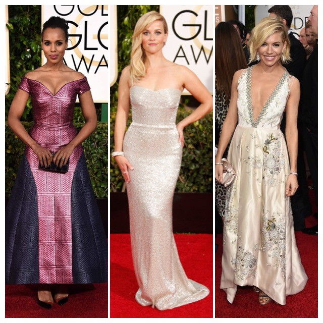 Kerry Washington de Mary Katrantzou, Reese Witherspoon y Sienna Miller de Miu Miu.