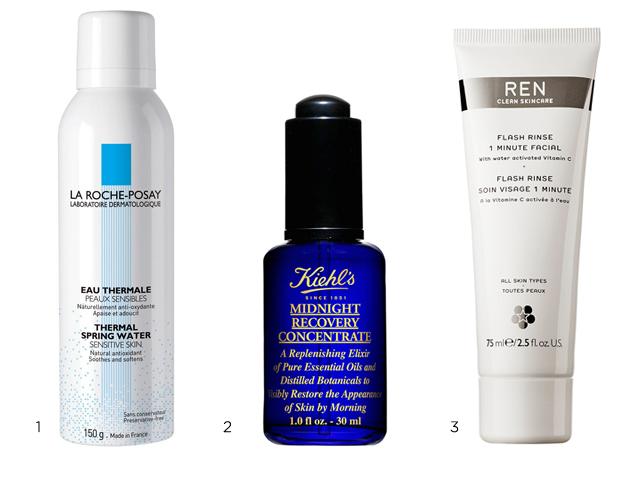 1.Agua termal de La Roche-Posay. 2. Midnight Recovery Concentrate de Khiel's. 3. Tratamiento facial Flash Rinse One minute de Ren.