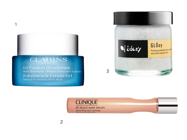 Multi-Hydratante Gel Fundente de Día para Pieles Normales a Mixtas de Clarins. 2. All About Eyes Serum De-Puffing Eye Massage de Clinique. 3. Exfoliante facial de menta de Soley Organics.