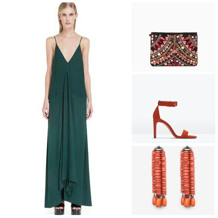1.Vestido de Bimba y Lola. 2.Cartera de Mango. 3.Sandalias de tacón de Zara. 4.Pendientes de Uterqüe.