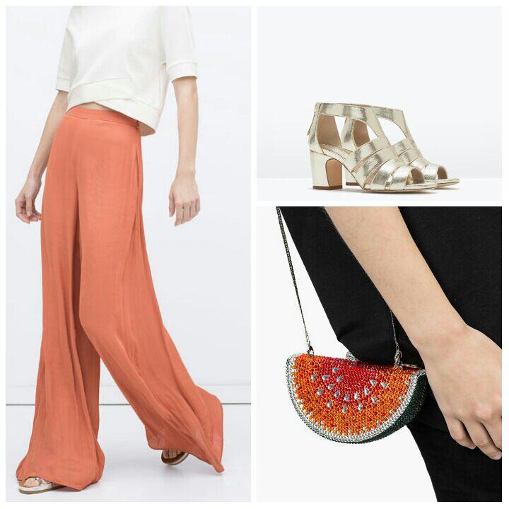 1.Pantalón de Zara. 2.Sandalias plateadas de Zara. 3.Clutch con forma de sandía de Uterqüe.