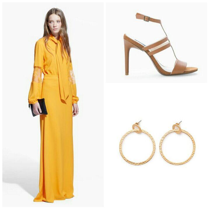 1.Vestido con encaje en las mangas de Mango. 2.Sandalias de Mango. 3.Pendientes de aro de Bimba y Lola.